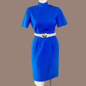 Vintage 60s 70s Mock Neck Office Secretary Dress